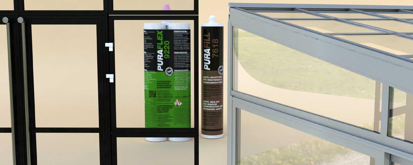 склеивание и уплотнение при производстве алюминиевых окон и дверей