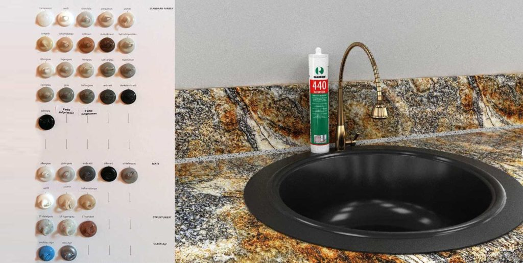 рекомендуется использование герметика Ramsauer 440 Naturstein с добавлением серебра по технологии Silber Ag+