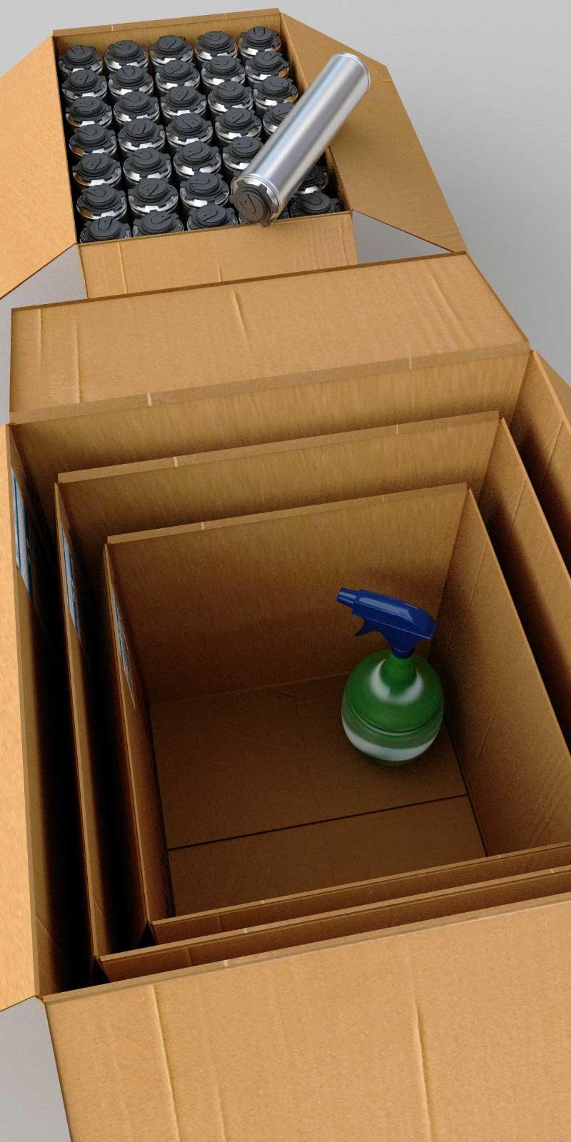 в коробки разных размеров.