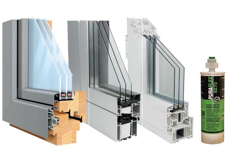 Индустриальное вклеивание стеклопакетов в окна из пвх, дерева и алюминия