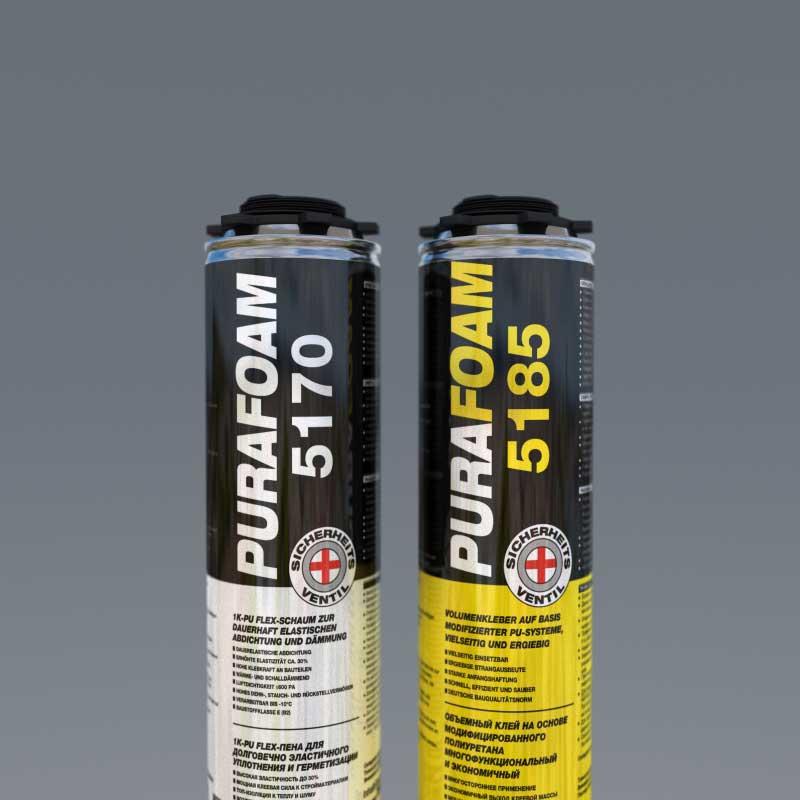 PURAFOAM® 5170 и PURAFOAM® 5185, в баллонах по 750 и 500 мл