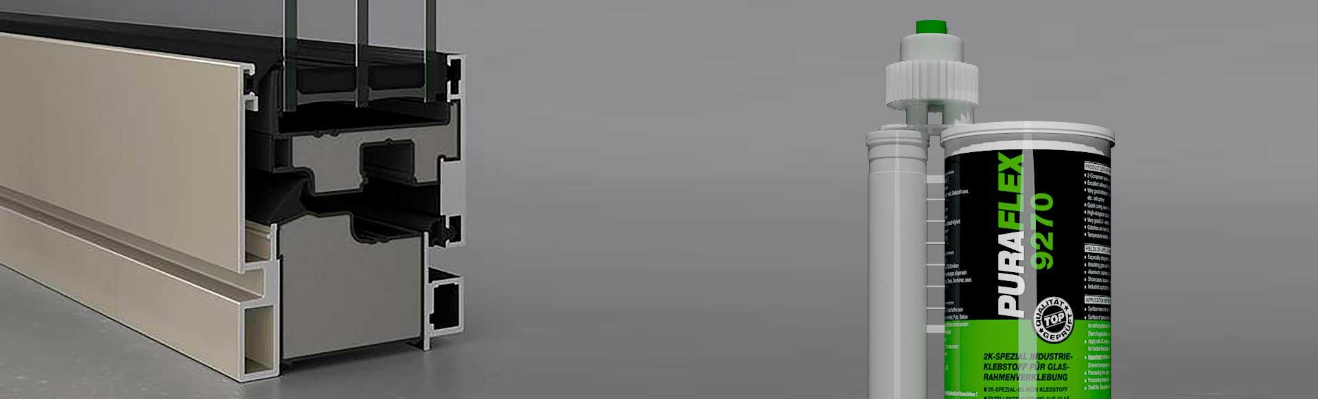 Вклеивание стеклопакетов клеем PURAFLEX® 9270 в окна и двери из алюминия