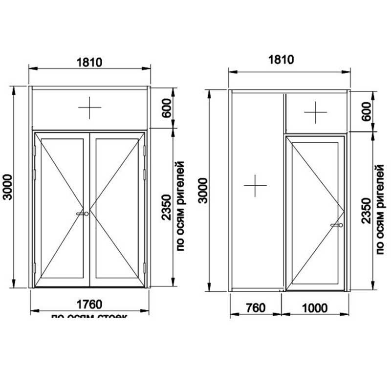 вклейка в большие алюминиевые двери